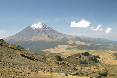 Active snowcapped Popocatepetl volcano (5.452 meters), Mexico from Iztaccihuatl