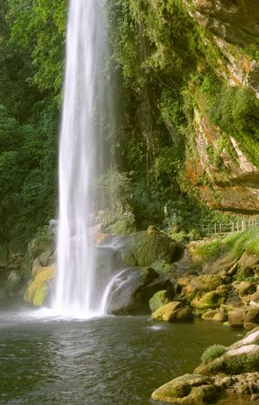 ha: Cascada (waterfall) Misol Ha, Chiapas, Mexico Stock Photo