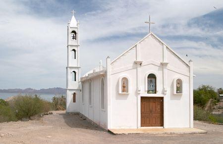 White church in Mulege, Baja California, Mexico