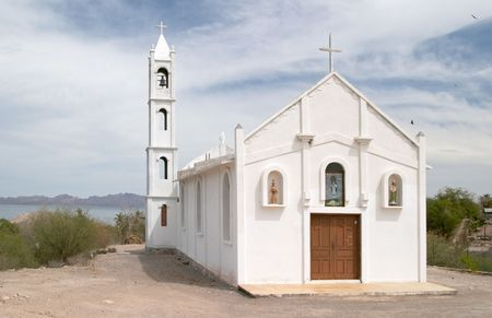 White church in Mulege, Baja California, Mexico