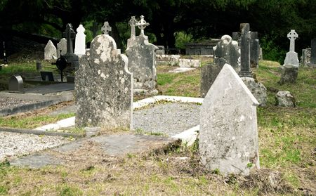 stone of destiny: Celtic tombstones in Muckross friary, Killarney, Ireland Stock Photo
