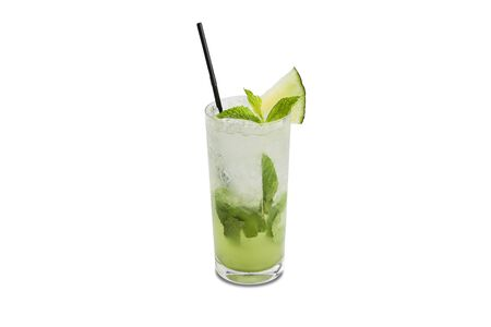 Melon mojito cocktail with a straw and melon fruit isolated on white background