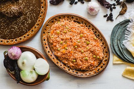 mexican rice and mole poblano, traditional food in Mexico Stock Photo