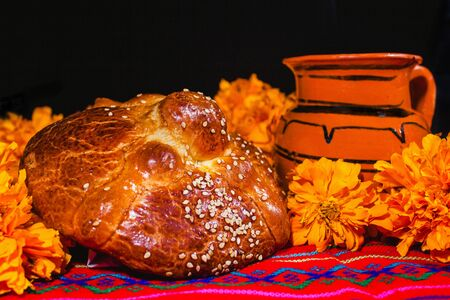 ofrenda day of muertos, Mexican Bread traditional in a offering in Mexico
