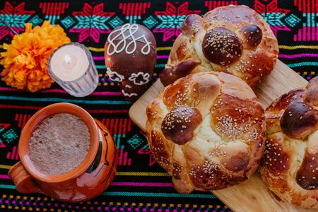 Pan de Muerto, mexican Sweet bread in Day of the Dead celebration in Mexico