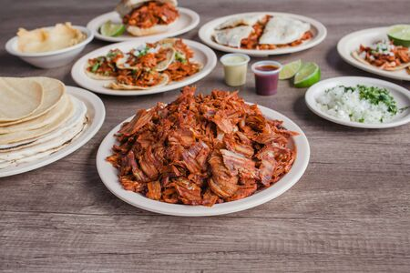 Tacos al Pastor and Meat, Mexican food in Taqueria Mexico City