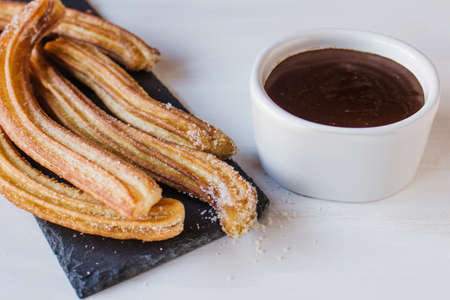 Churros with Chocolate, traditional food in Spain
