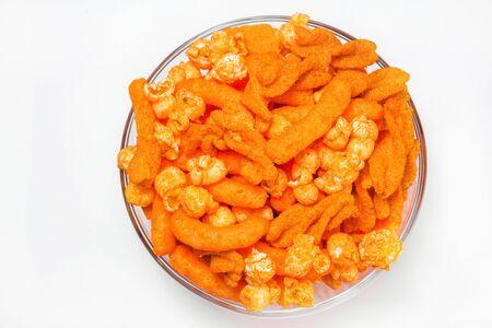 Cheese Puff and popcorn Snack orange Background