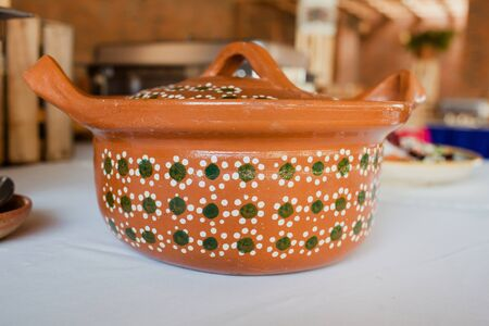 cazuela mexicana or Pots for mexican food and buffet in Mexico Stock Photo