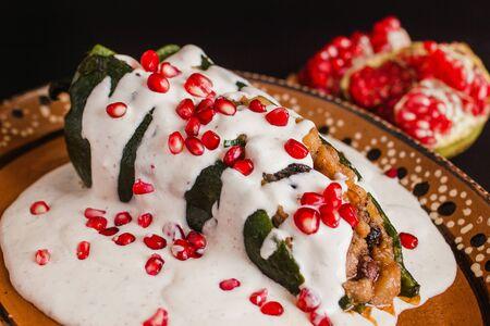 Chiles en Nogada, traditional Mexican cuisine in Puebla Mexico Reklamní fotografie