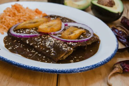 Mexican Enchiladas with mole, traditional food of Mexico gastronomy