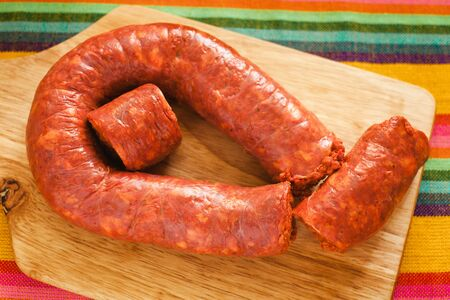 longaniza mexicana, chorizo traditional pork sausage in mexico, mexican food Banque d'images