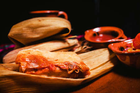 tamales red sauce traditional mexican food in Mexico Фото со стока