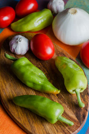 Mexican hot chili peppers called Chile de Agua from Oaxaca Mexico, Green chillies and vegetables