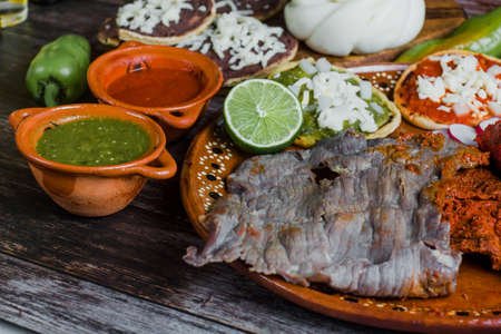 Cecina o beef and spicy meat is grilled mexican barbecue from Oaxaca Mexico