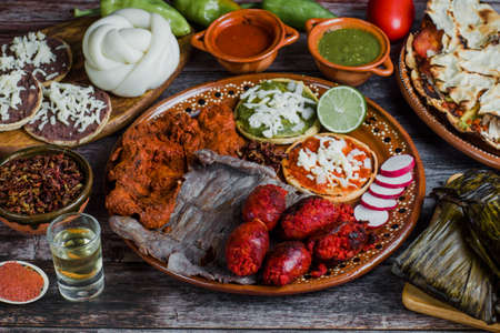Chorizo, Cecina beef jerky and spicy meat is grilled Mexican barbecue from Oaxaca Mexico