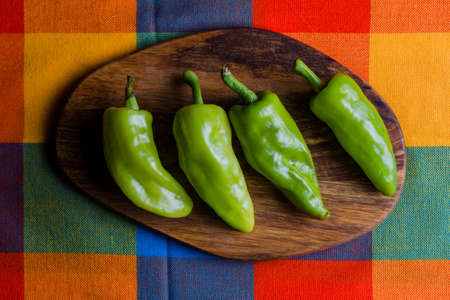 Mexican hot green chili peppers called Chile de Agua from Oaxaca Mexico