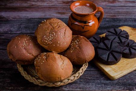 Mexican Hot Chocolate and Oaxaca Bread in Oaxaca Mexico Фото со стока