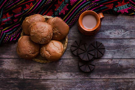 Mexican Hot Chocolate and Oaxaca Bread in Oaxaca Mexico Фото со стока - 155927638