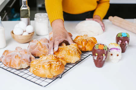 Mexican bread of the dead called pan de muerto traditional from Mexico in halloween