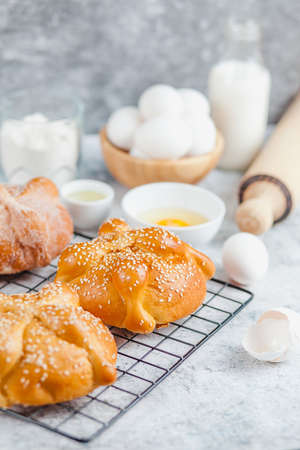 Pan de Muerto, ingredients for Mexican bread recipe traditional for day of the Dead in Mexico