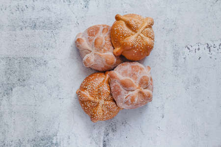 Pan de Muerto mexican bread traditional for day of the dead in Mexico Фото со стока