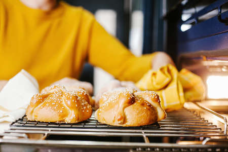 Pan de muerto Traditional mexican bread for day of the dead in Mexico