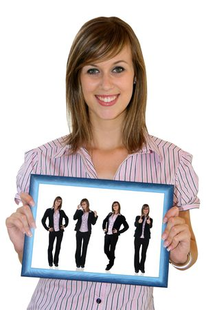 Businesswoman with blue frame photo