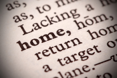 The word  Home  in a dictionary photo