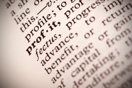 definition define: The word  Profit  in a dictionary Stock Photo