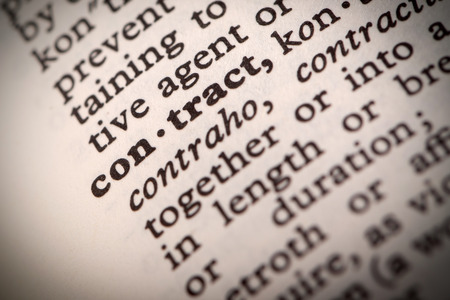thesaurus: The word  Contract  in a dictionary