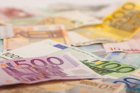 Abstract closeup of euro money. Stock Photo
