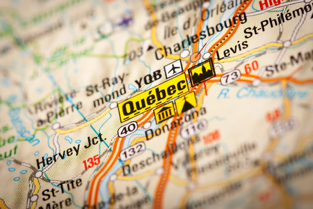 Map Photography: Quebec City on a Road Map photo