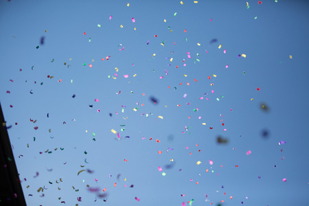 wedding parade: Many Colored Petals on a Sky Background Stock Photo