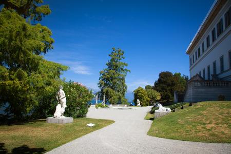 lake como: View of beautiful park of Villa Melzi, Lake Como, Italy