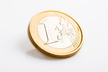 gold and silver coins: One Euro Coin Isolated on White Background