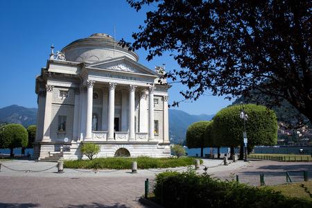 vaulted door: The Volta Temple in Como town, Italy, Editorial