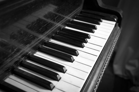 Old Black and White Keyboard of Vintage Piano photo