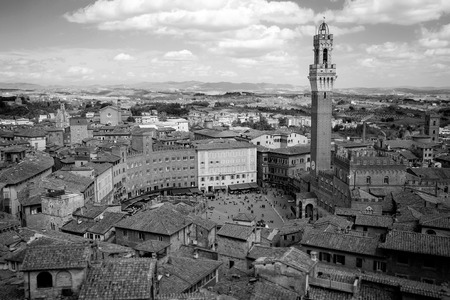 siena italy: Campo Square with Mangia Tower, Siena, Italy