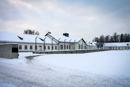 persecution: Dachau Concentration Camp Memorial in a Winter Day