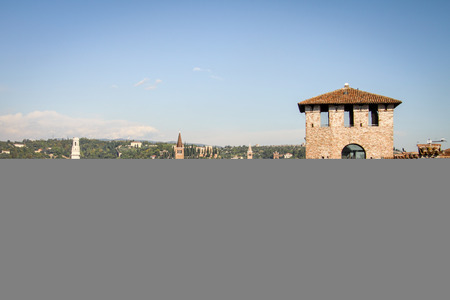 fall protection: Castelvecchio in Verona, Italy, in a Autumn Day
