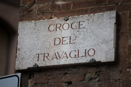 streetsign: The street sign of Via Croce del Travaglio in Siena Tuscany