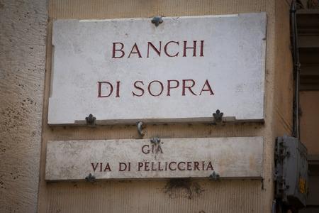 via: The street sign of Via Banchi di Sopra in Siena Tuscany