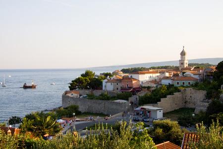 krk: View of Old Town of Krk, Croatia Editorial