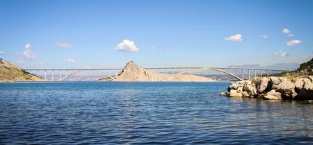 krk: Full view of the bridge to the island Krk in Croatia. Stock Photo