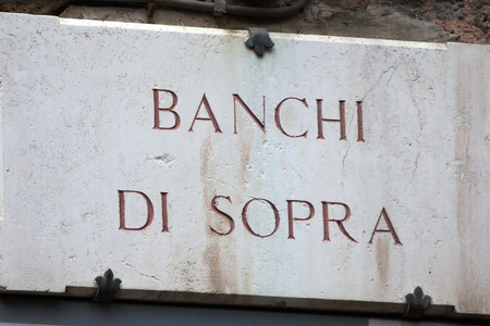 via: The streetsign of Via Banchi di Sopra in Siena Tuscany Stock Photo