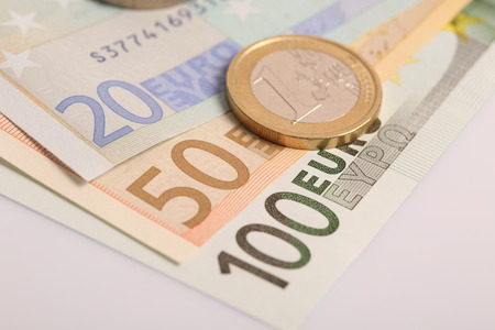 augmentation: Euro money: closeup of banknotes and coins Stock Photo