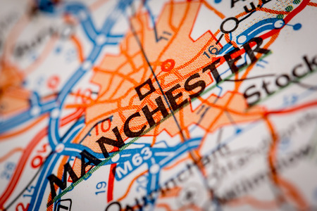 Map Photography: Manchester City on a Road Map Stock Photo