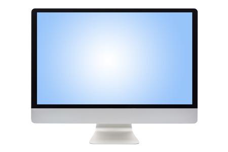 monitor de computadora: La pantalla del ordenador aislado en un fondo blanco Foto de archivo