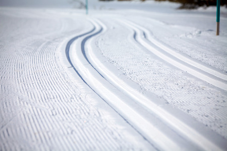 snow ski: Cross Country Ski Tracks in Engadin, Switzerland